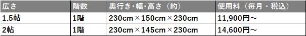 ハローストレージ 調布市の料金表