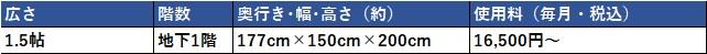 ハローストレージ 台東区の料金表