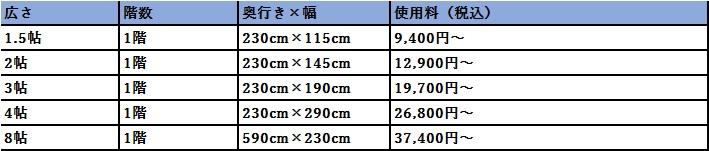 ハローストレージ 志木市の料金表