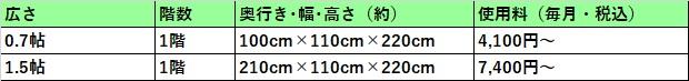 ハローストレージ 手稲区の料金表