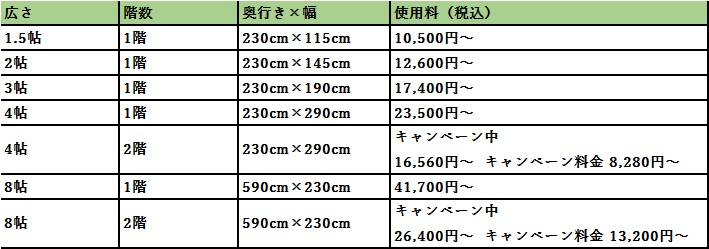 ハローストレージ 和光市の料金表
