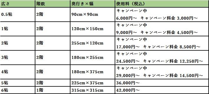 ハローストレージ 蕨市の料金表